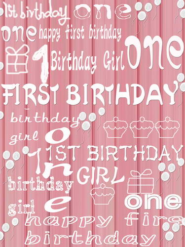 One Year Old Birthday Vinyl Cloth Pink Party Wallpaper Photography