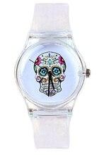 YCYS! Schädel Zifferblatt Transparent Silikon Armbanduhr