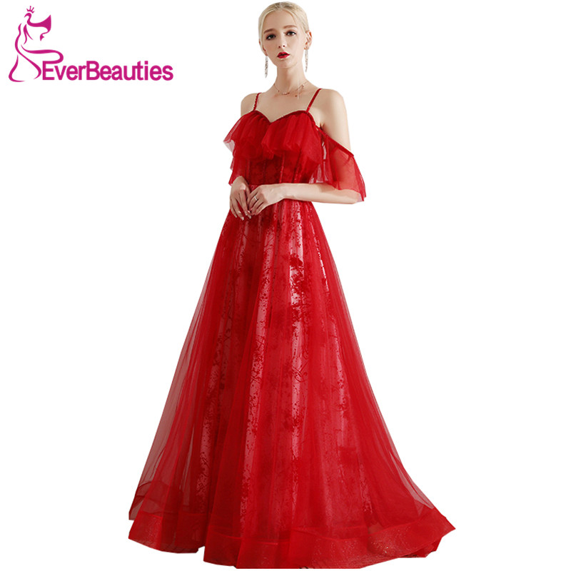 Abendkleider 2019 Formal   Dress   Women Elegant   Evening     Dresses   Wine Red Long   Dress   Party Tulle Lace   Evening   Gown Robe De Soiree