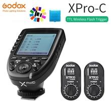 цена Godox XPro-C Flash Trigger Transmitter with E-TTL II 2.4G Wireless X System HSS LCD Screen + 2x XTR-16 Receiver  for Canon DSLR онлайн в 2017 году