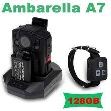 Ambarella A7 Полиции Для Ношения на Теле Камеры 128 ГБ HD 1296 P Ночного Видения + Пульт Дистанционного Управления Бесплатная доставка