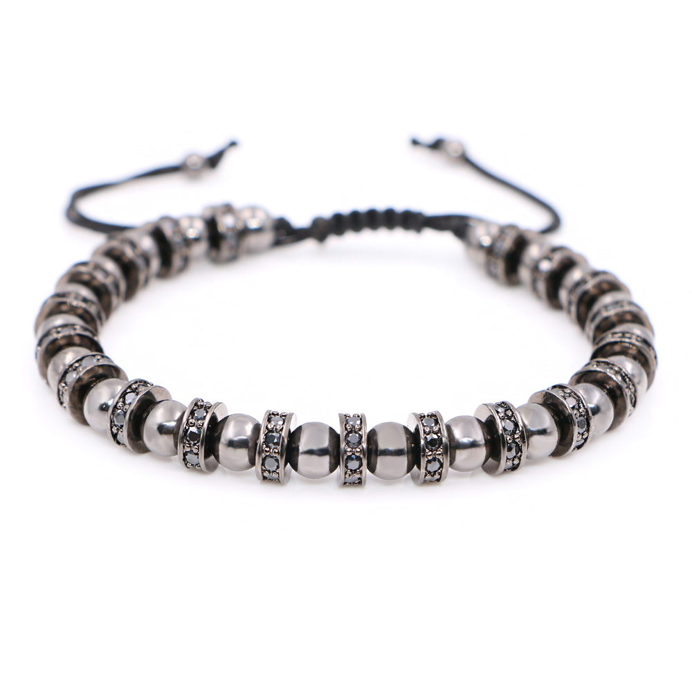 bc8d3e1d20ad3 US $26.88 |Wolfstone Men Bracelets Gold Color Plated 6 mm Micro Pave CZ  Beads Braiding Macrame Round Stopper Men Bracelets Valentine's Gift-in  Charm ...