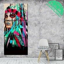 3 Шт. Зеленое перо Женщина Art Pictures HD Печатные Холст Картины с Картинками Украшения для