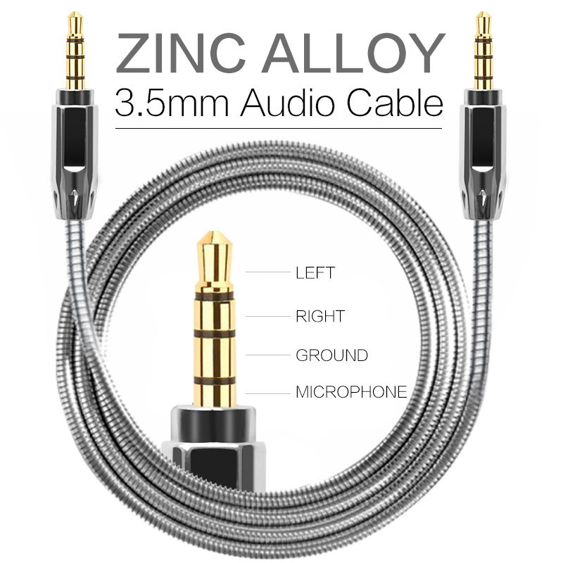 Zinc Alloy Metal AUX Cable 3.5mm Male to Male Audio Cables