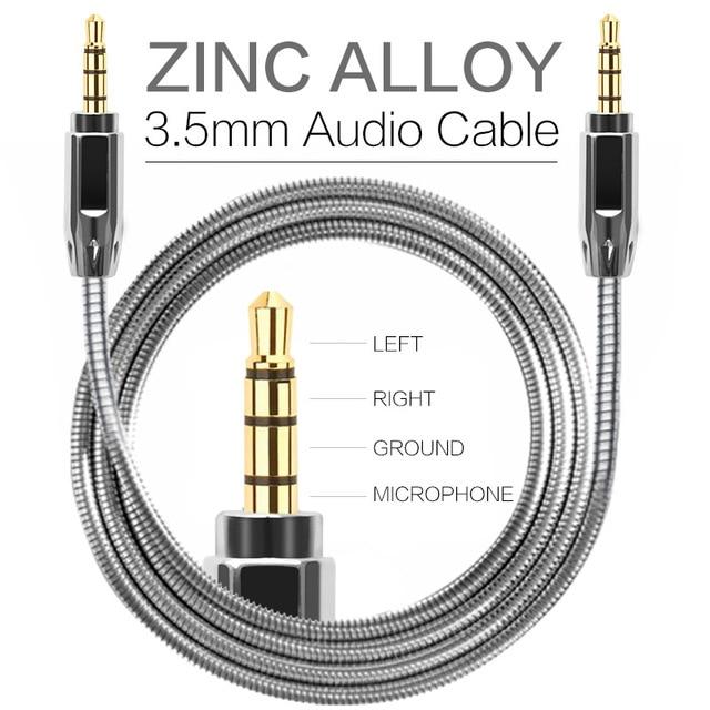 Zinc Alloy Metal Aux Cable 3 5mm Male To Male Audio Cables