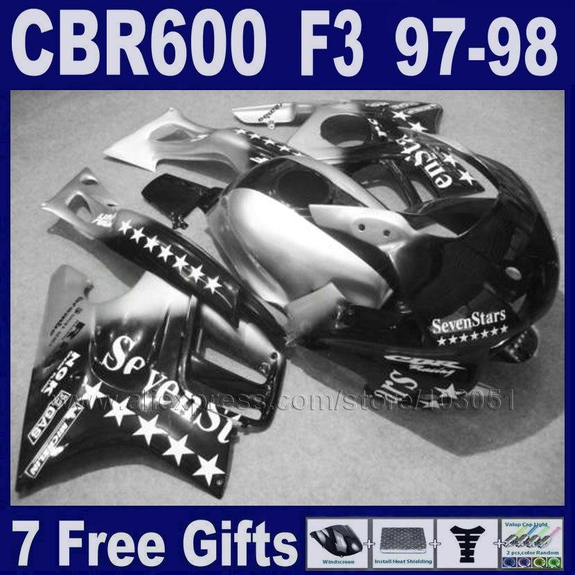 fairing black&silver for Honda 97  98 CBR600 F3 1997 CBR 600 F3 1998 ABS black bodykits