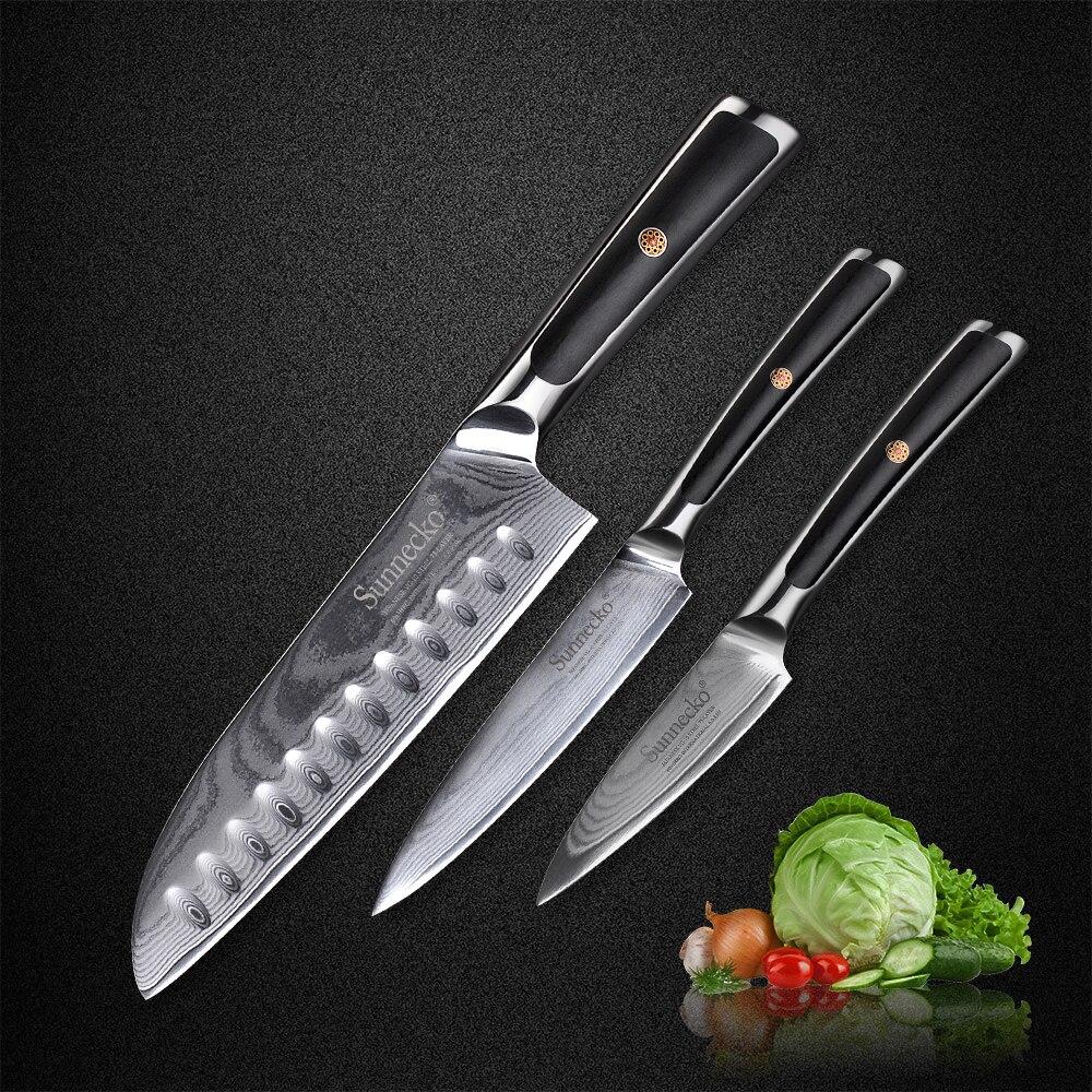 SUNNECKO 3 pcs Cuisine Ensemble De Couteau Santoku Utilitaire Couteaux à légumes Japonais VG10 Damas Acier Rasoir G10 Poignée de Cuisson Outils