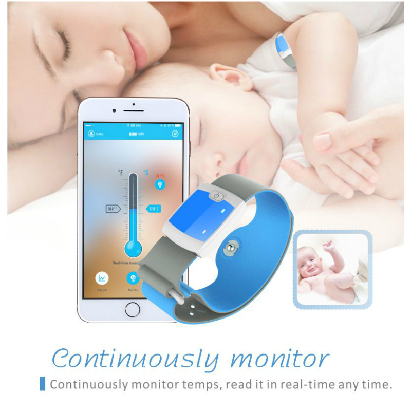 Bluetooth 4.0 Remote Children Wearable Electronic Thermometer Smart Body Infant Temperature Monitoring Home Nursing Thermometers