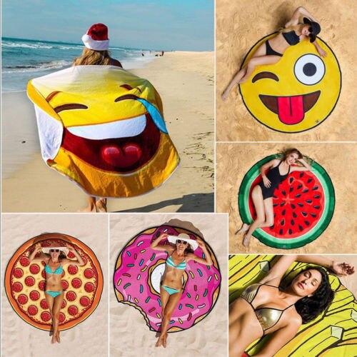 2018 NEW Women Sunscreen Shawl Scarf Beach Pool Emoji Printed Towel Blanket BBQ Picnic Fruit Mat