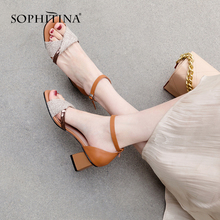 SOPHITINA Basic Sandals Thick High Heels Genuine Leather Dress Woman Shoes New Arrival Patchwork Buckle Strap PO133