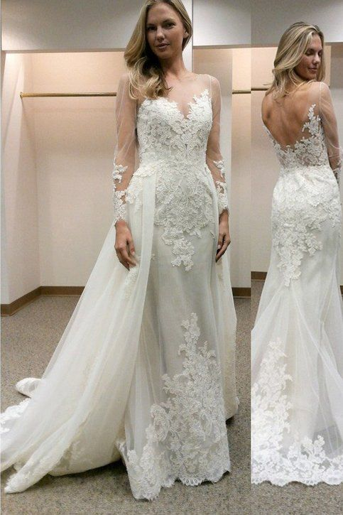 2019 New Design Appliqued Tulle Wedding Dresses Sheer Long Sleeve Sexy Backless Bride Dress vestidos de casamento-in Wedding Dresses from Weddings & Events    2