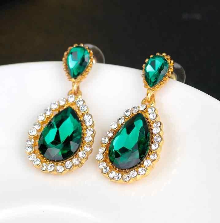 Visisap luxe pierre verte russe ensembles de bijoux de mariage chauds pour les femmes anneaux boucles d'oreilles bijoux à la mode couleur or jaune VSJ201