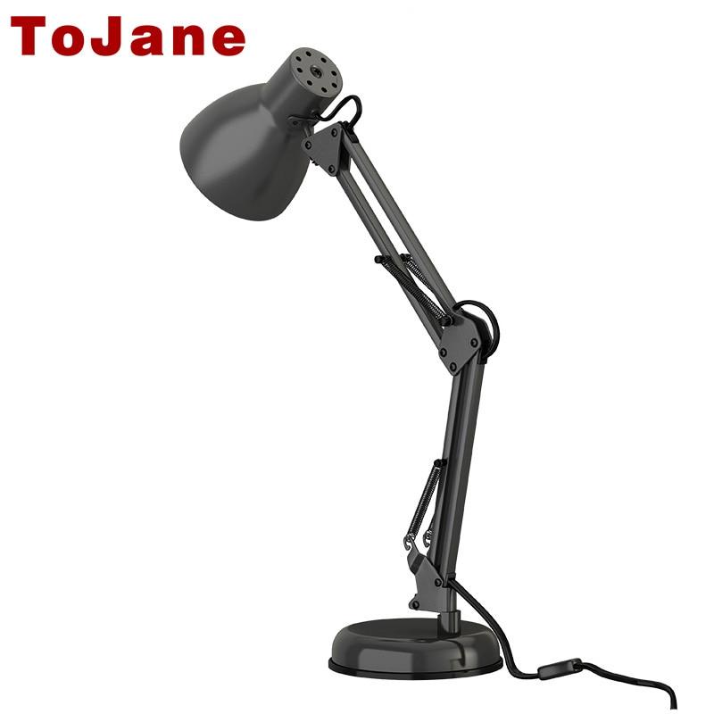 ToJane Long Swing Arm Desk Lamp Twin Arm Clip On Led Desk Lamp Flexible