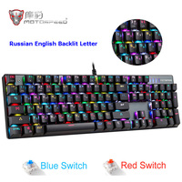 MOTOSPEED CK104 механическая клавиатура RGB с подсветкой русская английская игровая клавиатура металлические клавиши синий/красный переключатель ...