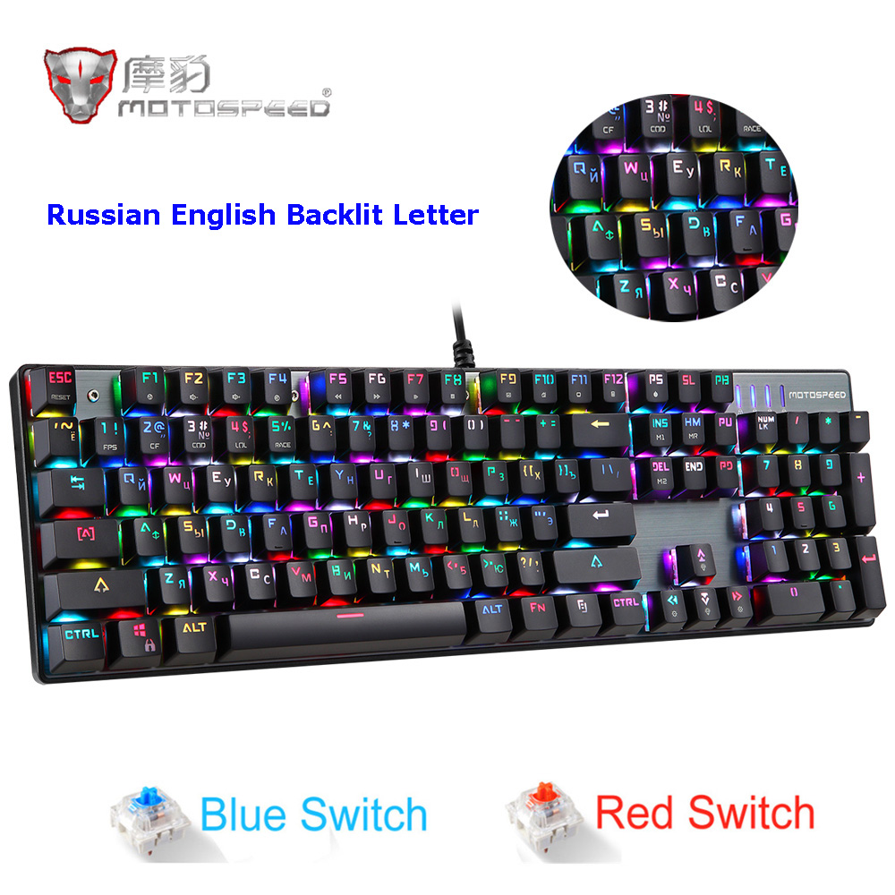 09b62da1349 MOTOSPEED CK104 RGB Backlit Gaming Keyboard Metal Keys Blue / Red ...