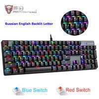 MOTOSPEED CK104 RGB Backlit Gaming Keyboard Metal Keys Blue / Red Switch Russian English Mechanical Keyboard for Overwatch Gamer