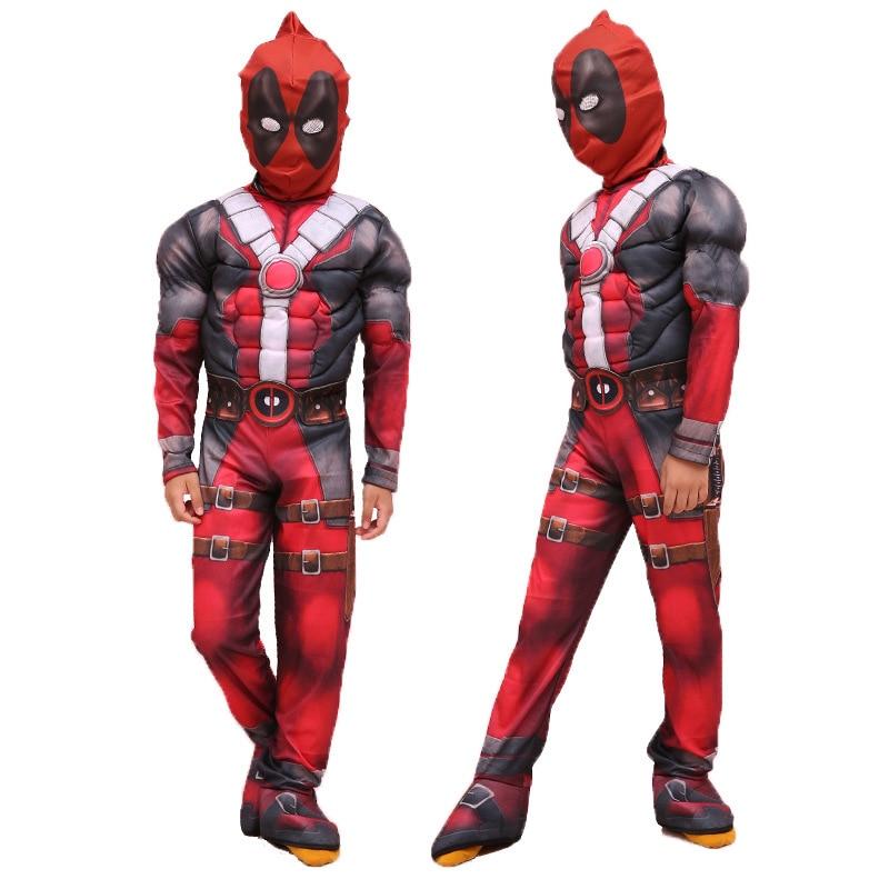 free shipping Hot Marvel Halloween Cosplay Full Body Deadpool Costume  Kids Digital Print Lycra Costume Deadpool Cosplay