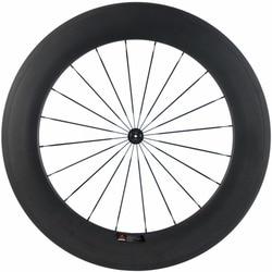 700C pełne koło karbonowe przednie rurowe drogi 88mm tylne koła rowerowe 700C koła 25mm U kształt koła rowerowe w Koła roweru od Sport i rozrywka na