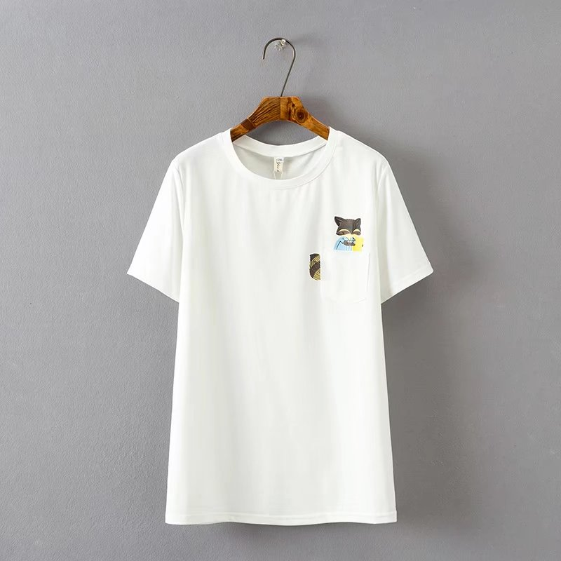 2b3e8d57a92 oversized Plus Size Squirrel Print Cotton Summer Women T Shirts Casual  Pockets O Neck Tshirt Short Sleeve Tee Shirt Ladies Top-in T-Shirts from  Women s ...