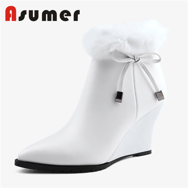 ASUMER 2018 NEW fur+bowknot ankle boots for women solid fashion snow boots pointed toe wedges high quality genuine leather boots faux fur knitted bowknot snow boots