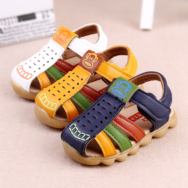 L&D Cartoon Baby Summer Shoes Boys First Walkers Toldder Newborn PU Leather Antislip Shoes Baby Insole11.5~13.5CM