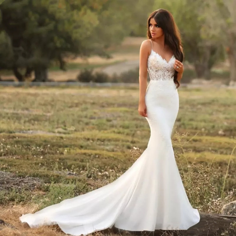 Mermaid Lace Wedding Gown: Thinyfull 2019 New Mermaid Wedding Dress Lace Spaghetti