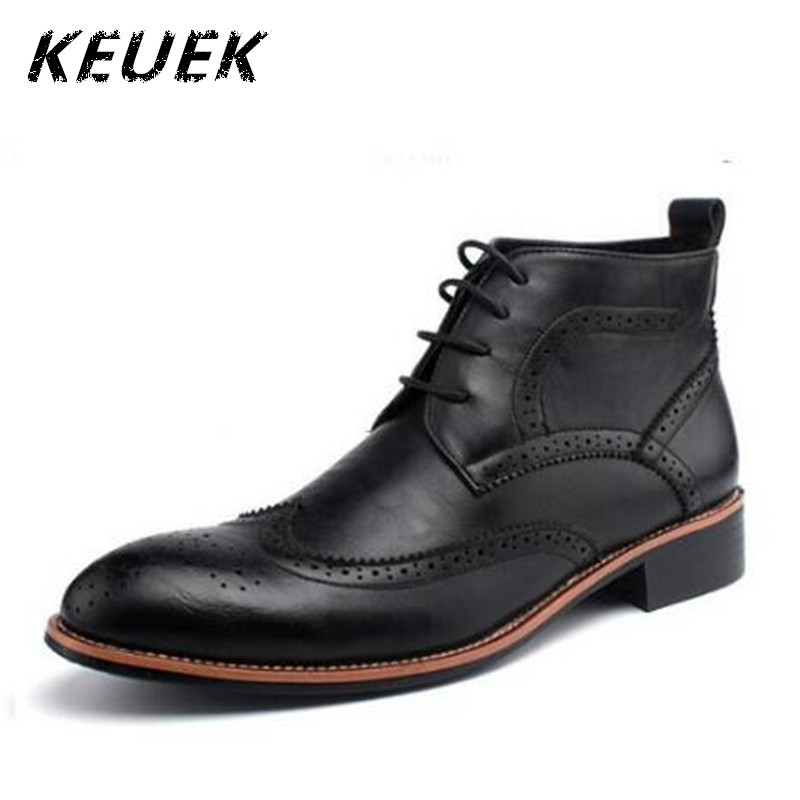 Spring Fashion High top Leather boots Vintage Lace Up Brogue Boots Mens Pointed Toe Ankle boots Male shoes chaussure homme 022