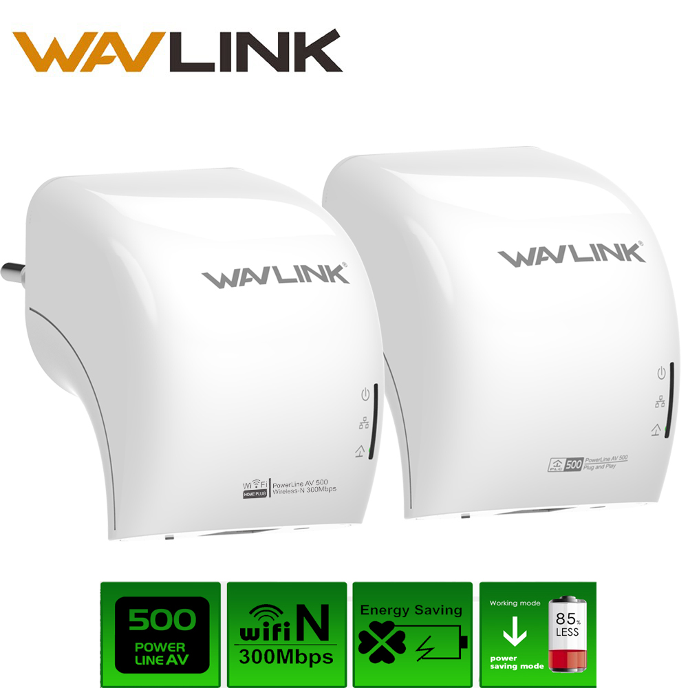 wavlink 1 pair ac500 wired powerline adapter wifi. Black Bedroom Furniture Sets. Home Design Ideas