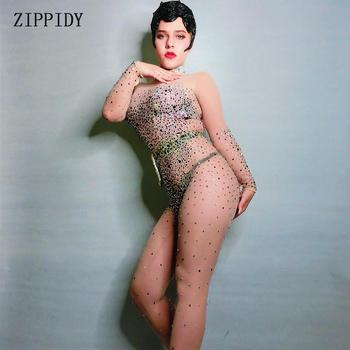 Shining Mesh Transparent Rhinestones Jumpsuit Stretch Rompers Stage Dance Multicolor Stones Sexy See Through Costume