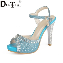 DoraTasia  2018 High Quality Plus Size 33-43 Spike Heels Sandals Women Peep Toe Buckle Strap Party Wedding Shoes Woman