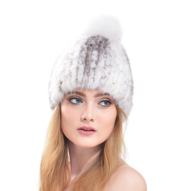 IMIXLOT Fashion Women Knitted Mink Fur Hat Real Fox Fur Pom Cap Knit Lining Beanie Winter Beanies Fur Hat Casual Accessories