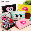 IN STOCK 2017 Fashion Modern Lovely Pattern Waterproof Cosmetic Bag Women Cute Candy Color Makeup Beauty Case Travel Organizer