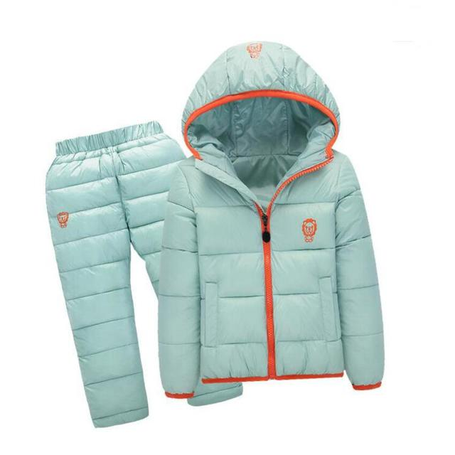 Children Clothing sets Down cotton jackets+pants suit Light Thin boys girls hooded winter outwear coats 5 colors for 1-7 years