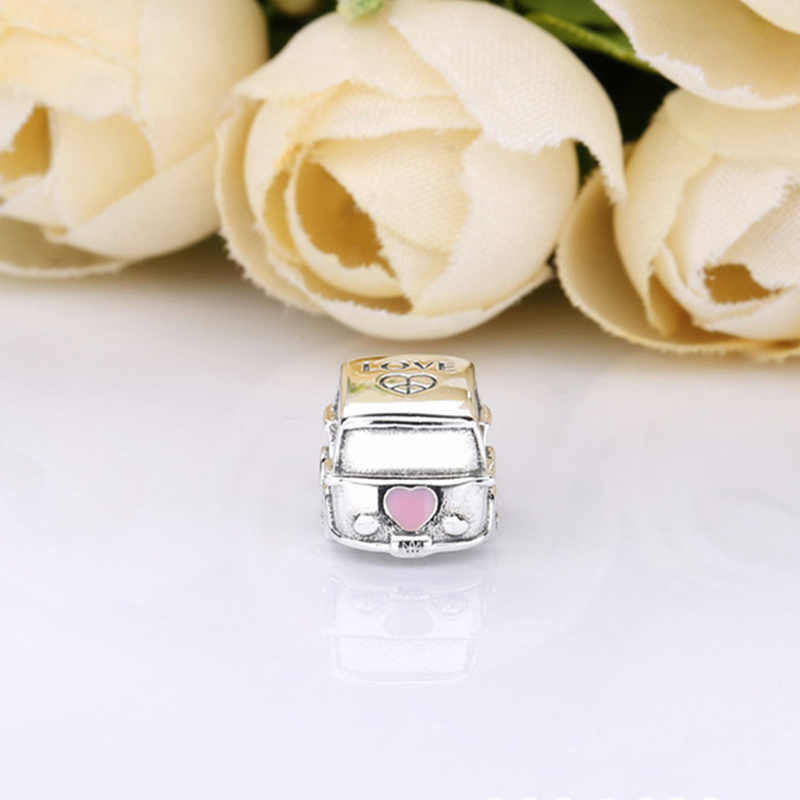 fit Pandora Bracelet Original 925 Sterling Silver Pink Enamel Heart Camping Car Charms S925 Stamp Cute Bus Beads Gift Jewelry