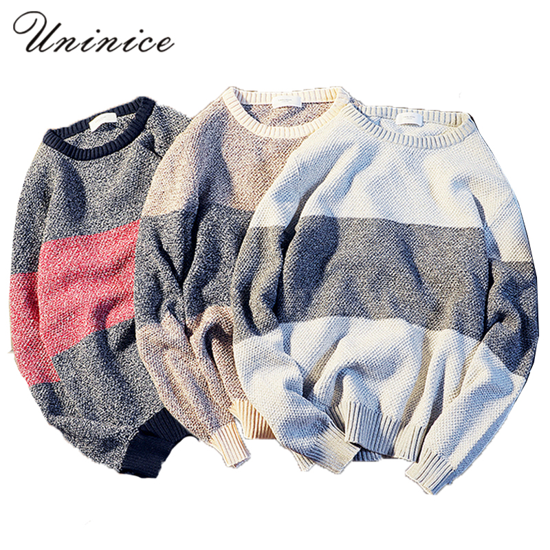 Autumn Winter Men s Sweater Plus Size 3XL Youth Fashion Sweater Male Striped Knit Sweater Stripe
