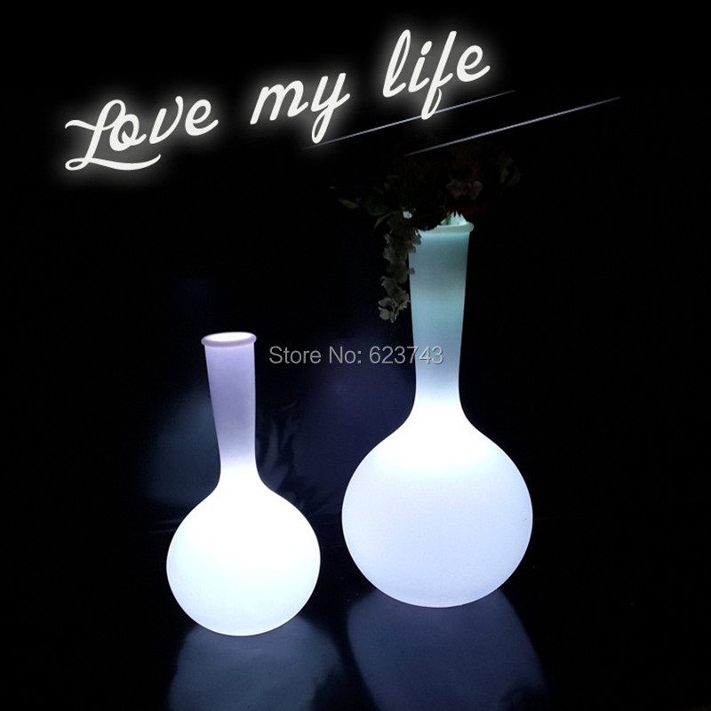 Rechargeable Outdoor Waterproof Glowing LED Floor Lamp Remote Control Led Floor Big Artificial Flower Pot RGB Floor Boughpot