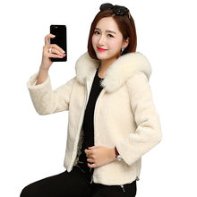2017 New Slim Short Thick Warm Wool Coat Ukraine Winter Women Fur Collar Hooded Jacket Coats Parkas Leisure Female Overcoat Z419