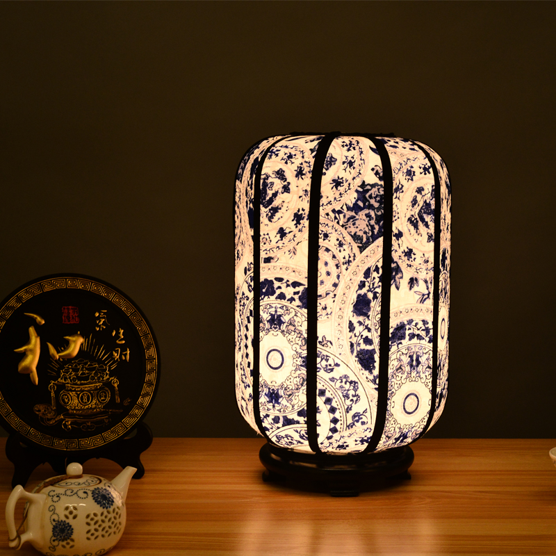 Classical Creative Chinese Blue And White Porcelain Fabric Led E27 Dimmer Switch Table Lamp For Living Room Bedroom Bar H 31cm high quality table lamp full range dimmer gold tone rotary switch 2 wire connector