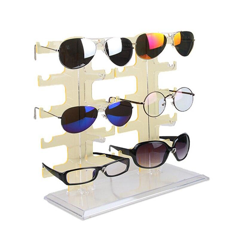 10 Pairs Glasses Display Rack Plastic Detachable Double Row Sunglasses Show Stand Receive Jewelry Eyeglasses Frame Display Shelf