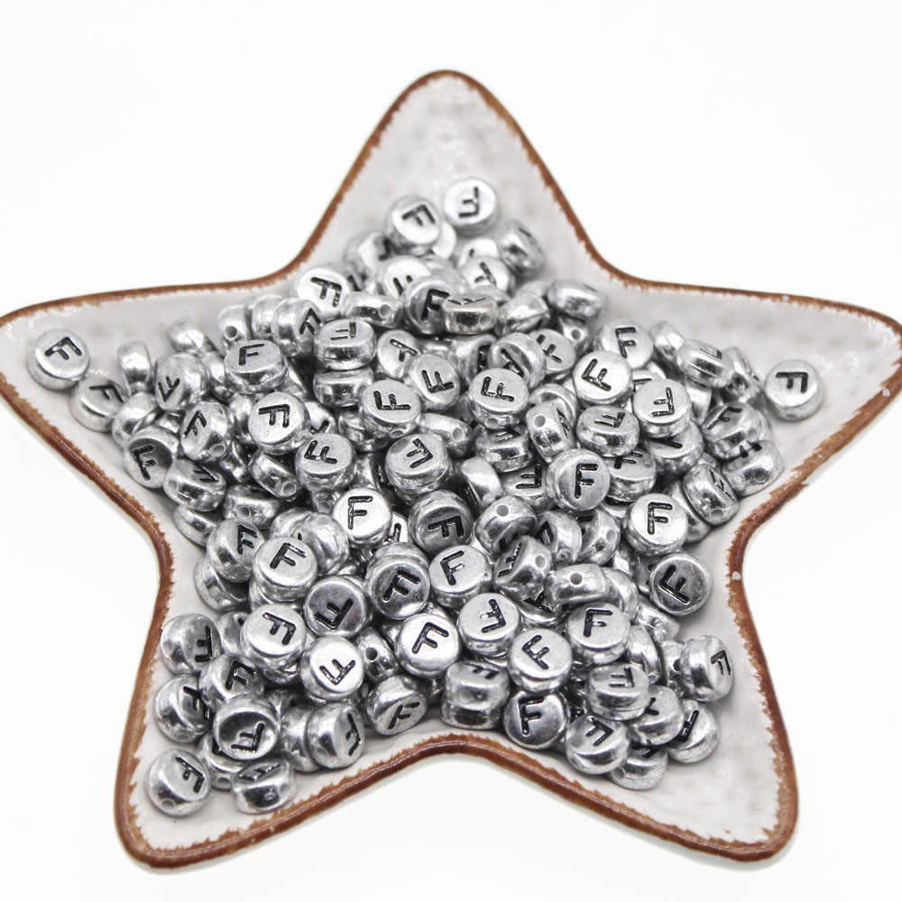 Chongai 50 Con Oblate Acrylic Thư Hạt Đơn Bảng Chữ Cái Vòng Tròn Bạc Vòng Tay Trang Sức Hạt & Trang Sức Làm 4*7mm