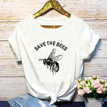 QIM Save the Bees Women T-Shirt Funny Print Casual O-Neck Fashion T-shirt for Summer Tops Female