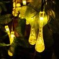 Outdoor Solar Led String light 6M 30 Led droplet solar panel strip light IP65 Waterproof Garden square decoration