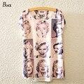 NEGRO A Estrenar 2016 Para Mujer Nueva Impresión Atractiva de la Belleza de Marilyn Monroe Expresión Batwing camiseta de Manga Corta de Impresión de La Camiseta Suave