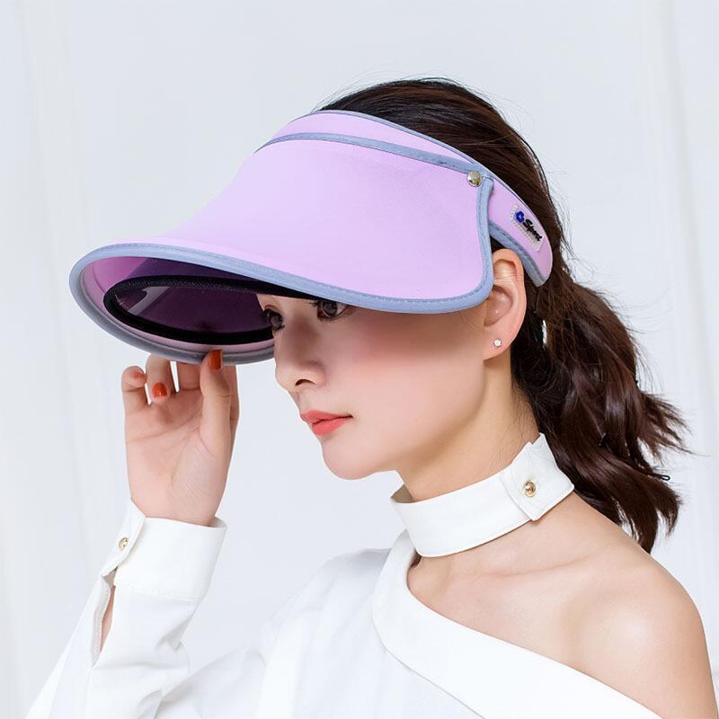 Wide Brim Sun Visor Summer Adjustable Sunhat Ladies Retractable Sun Hat Empty Top Lightweight Protection Sun Hat Outdoor