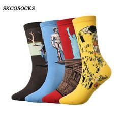 SKCOSOCKS 4 пар/лот 3D абстрактного искусства трикотажные Для мужчин носки ярких Цвета хлопковая ретро модные носки для мужчин Лидер продаж 2019