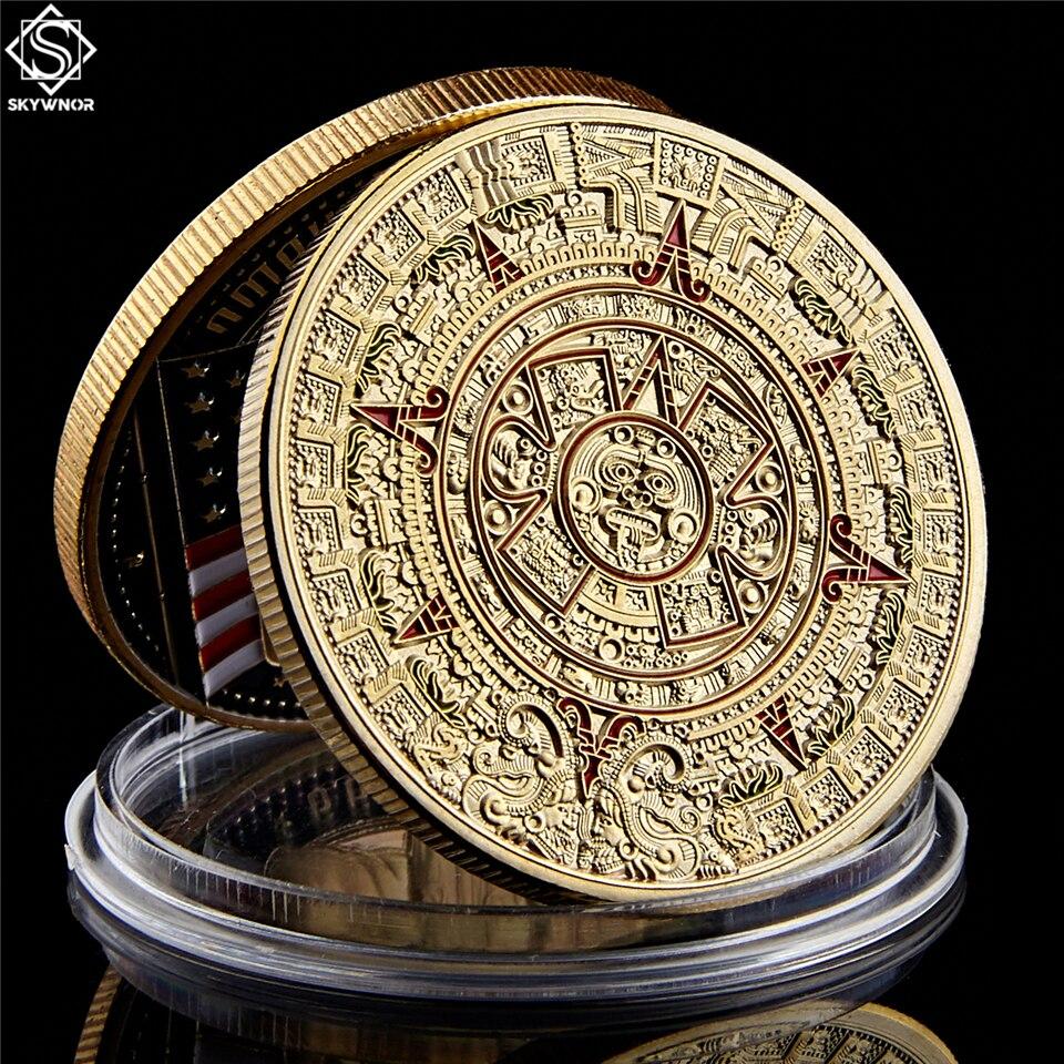 """المكسيك المايا ازتيك التقويم الفن ثقافة النبوءة 1.57 """"* 0.12"""" عملات معدنية ذهبية المقتنيات عملات غير رسمية  - AliExpress"""