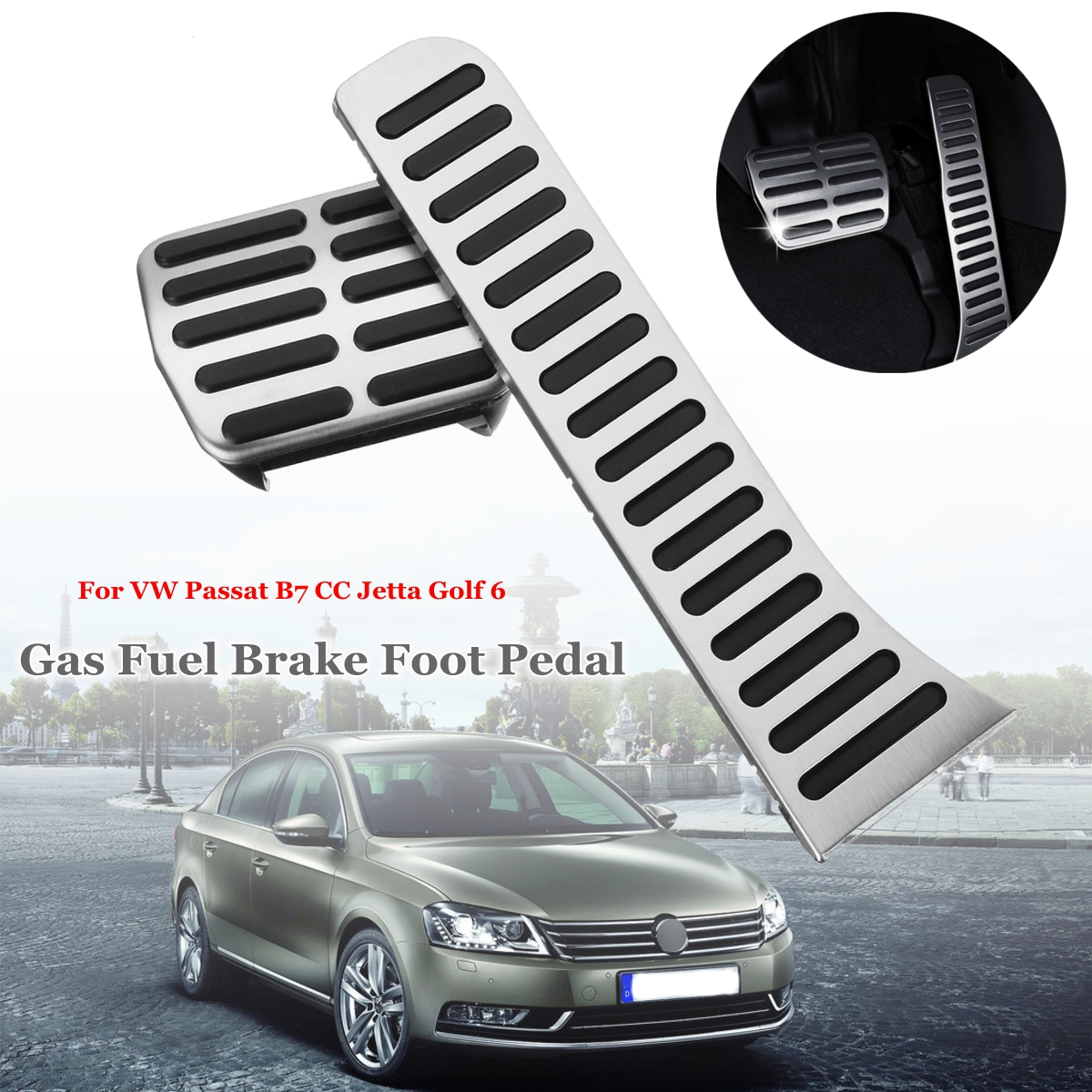 2pcs Car Styling Accelerator Brake Cover Gas Fuel Brake Foot Pedals for VW Passat AT B7 CC Jetta Golf 6 Right Hand Drive