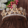 New Arrival Fashion Luxury clear Crystal princess Crown beauty contest Gold Diadem for Ladies Bride Wedding Hair Accessories