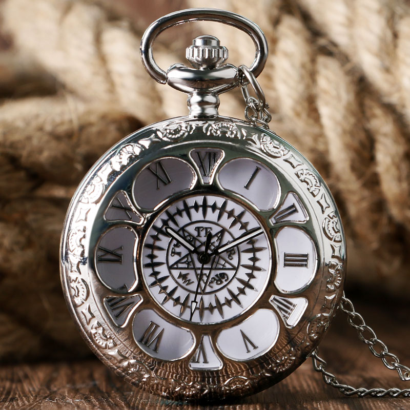 Vintage Pocket Watch Japanese Animation Kuroshitsuji Magic Contract Hollow Fob Watches Men Boy Retro Pendant Gift With Necklace