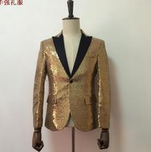 Singer stage blazer men formal dress latest coat pant designs suit men costume homme terno golden sequins suits for men's